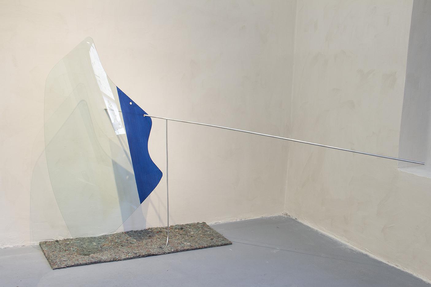 Slip on wall, glass, paint, felt, aluminium.